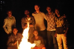 The students made a bonfire, as part of a send-off party for the current hostel manager, Nicolas.