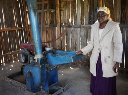 Rahab operates a 'posho mill' business, grinding maize meal. Profits from her business literally saved her life, allowing her to buy medicines for a blood pressure condition earlier in the year.