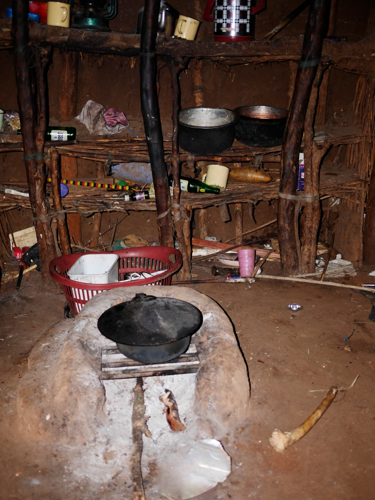 Inside one of the huts. The beds are on either side of this central cooking fire.