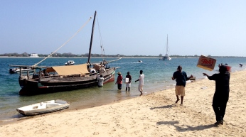 Pretty much everything is delivered to the island by boat - this is the delivery at Peponi